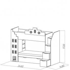 Кровать 2-х ярусная Амстердам-1 доп.место (ВхШхГ)1720х2460х1480