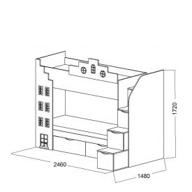 Кровать 2-х ярусная Амстердам-2 2 ящика (ВхШхГ)1720х2460х1480
