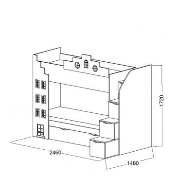 Кровать 2-х ярусная Амстердам-2 доп.место (ВхШхГ)1720х2460х1480
