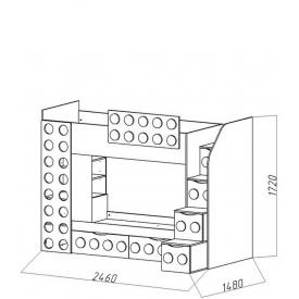 Кровать 2-х ярусная Лего-1 2 ящика (ВхШхГ)1720х2460х1480