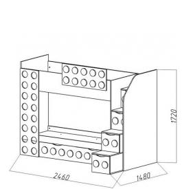 Кровать 2-х ярусная Лего-2 доп.место (ВхШхГ)1720х2460х1480