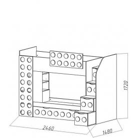 Кровать 2-х ярусная Лего-1 доп.место (ВхШхГ)1720х2460х1480