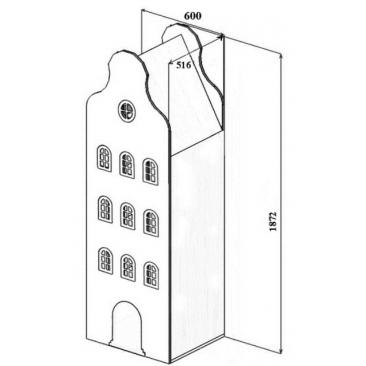 Шкаф-дом Амстердам-2 (ВхШхГ)1870х600х516