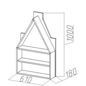 Полка-домик Амстердам-3 (ВхШхГ)1000х610х180