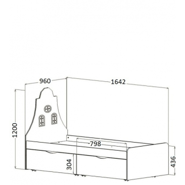 Кровать детская Амстердам 2 ящика (ВхШхГ)1200х1642х960