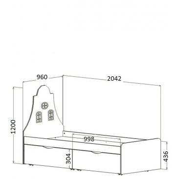 Кровать подростковая Амстердам 2 ящика (ВхШхГ)1200х2042х960