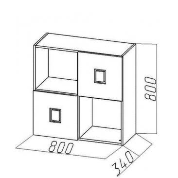 Полка-квадрат-2 Амстердам (ВхШхГ)800х800х340