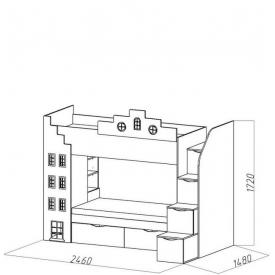Кровать 2-х ярусная  Амстердам-1 2 ящика (ВхШхГ)1720х2460х1480