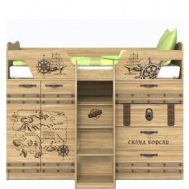 Кровать с выдвижным столом Корсар-1 (ВхШхГ)1436х1836х1094