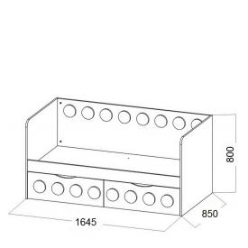 Кровать детская Лего 2 ящика (ВхШхГ)800х1645х850