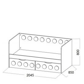 Кровать подростковая Лего 2 ящика (ВхШхГ)800х2045х850