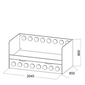 Кровать подростковая Лего доп.место (ВхШхГ)800х2045х850