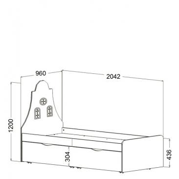 Кровать подростковая Амстердам доп.место (ВхШхГ)1200х2042х960