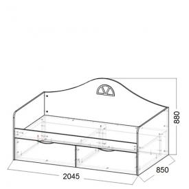 Кровать-диван подростковая Амстердам 2 ящика