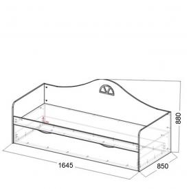 Кровать-диван детская Амстердам доп.место (ВхШхГ)880х1645х850