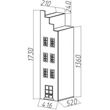 Шкаф-дом книжный Амстердам правый (ВхШхГ)1730х416х520