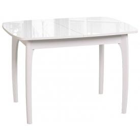 Стол раскладной №40 белый/стекло белое 740х900/1270х650