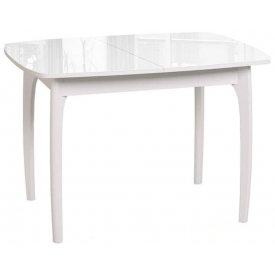 Стол раскладной М-15  белый/стекло белое 740х1050/1420х750