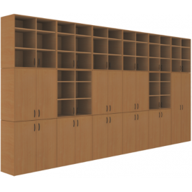 Шкаф кабинета биологии (ВхШхГ)2689х5160х450