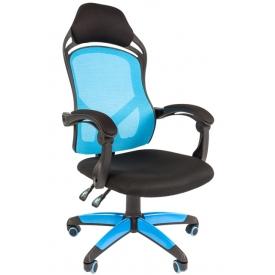 Кресло Game-12 голубой/черный