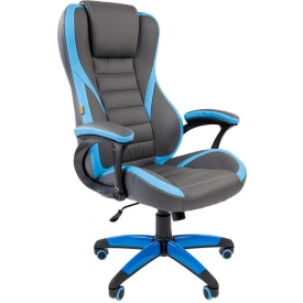 Кресло Game-22 голубой/серый