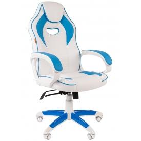 Кресло CHAIRMAN GAME-16 голубой/белый